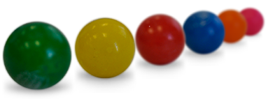 gumballs in a line